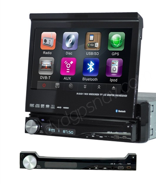 "In-Dash One Din DVD Player 7"" Car Multimedia GPS Navigation System"