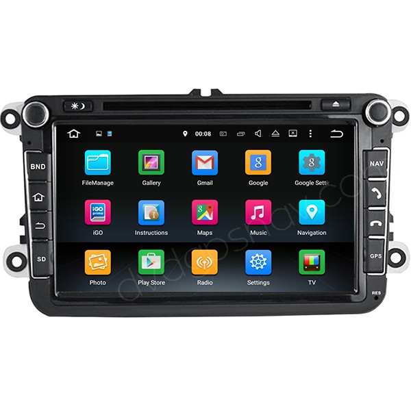 8inch Volkswagen Android Radio GPS DVD Navigation Touch Screen Multimedia System 1024x600 Quad-Cores 16GB