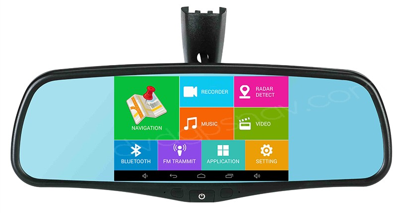 Android 5 Rear View Mirror Gps Navigation System With Backup Camera