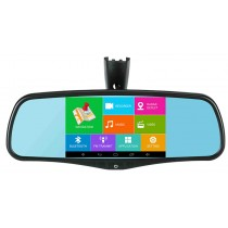 "Android 5"" Rear View Mirror GPS Navigation System with Backup Camera DVR Bluetooth Mount Quad-Core GPS Mirror"